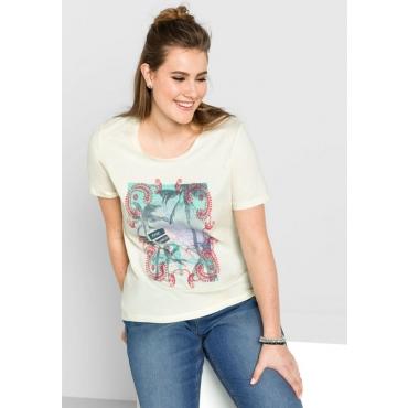 Große Größen: T-Shirt mit Frontdruck, ecru, Gr.40/42-56/58