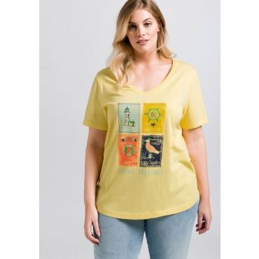 Große Größen: T-Shirt mit Frontdruck, hellgelb, Gr.44/46-56/58