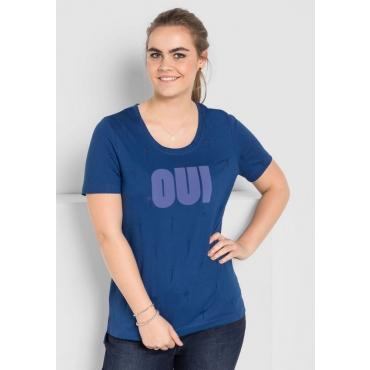 T-Shirt mit Frontdruck, indigo, Gr.40/42-56/58