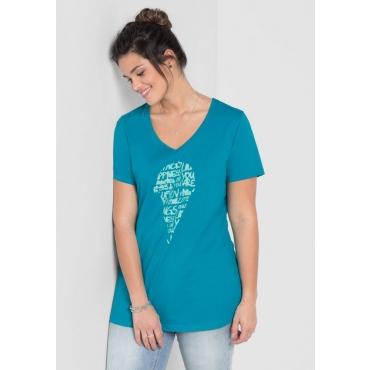 Große Größen: T-Shirt mit Frontdruck, italienblau, Gr.40/42-56/58