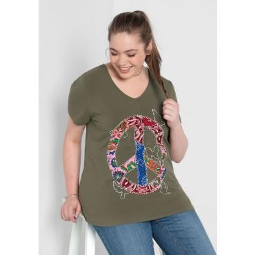 Große Größen: T-Shirt mit Frontdruck, khaki, Gr.40/42-56/58