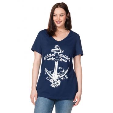 Große Größen: T-Shirt mit Frontdruck, nachtblau, Gr.40/42-56/58