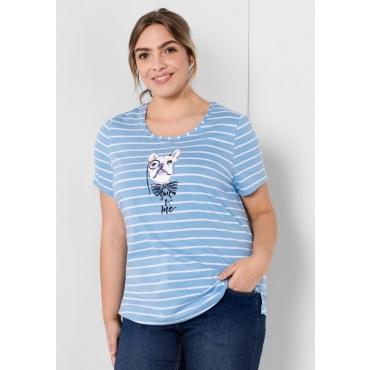 Große Größen: T-Shirt mit Frontdruck, pastellblau-weiß, Gr.44/46-56/58
