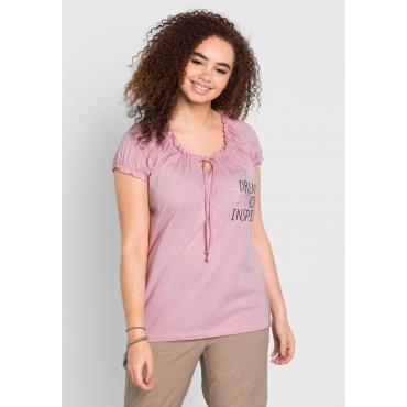 Große Größen: T-Shirt mit Frontdruck, rosé, Gr.40/42-56/58