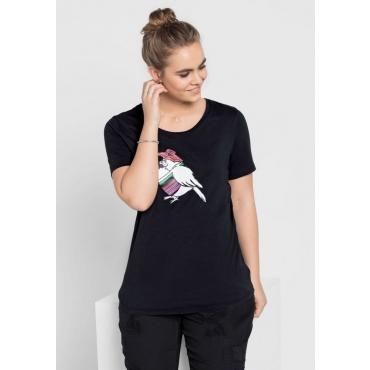 Große Größen: T-Shirt mit Frontdruck, schwarz, Gr.40/42-56/58