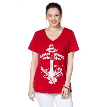 Große Größen: T-Shirt mit Frontdruck, tomatenrot, Gr.40/42-56/58