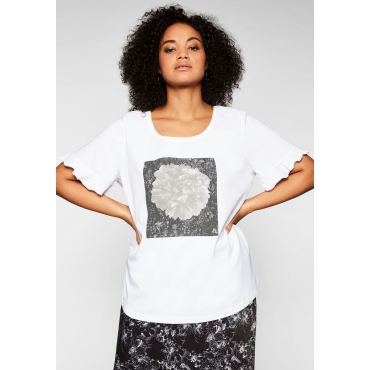 T-Shirt mit Frontdruck und Flügelärmeln, weiß, Gr.44/46-56/58