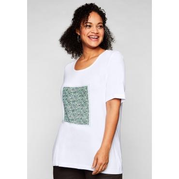 T-Shirt mit Frontdruck und längerem Halbarm, weiß, Gr.44/46-56/58
