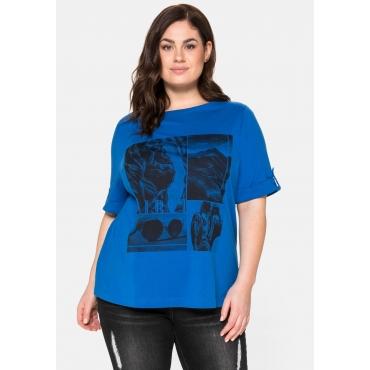 T-Shirt mit Frontdruck und U-Boot-Ausschnitt, lagune, Gr.40/42-56/58