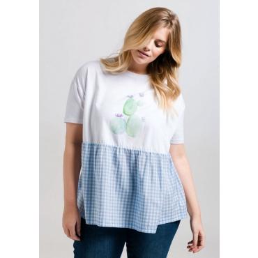 Große Größen: T-Shirt mit Frontdruck, weiß, Gr.44/46-56/58