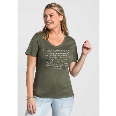Große Größen: T-Shirt mit Frontprint, khaki, Gr.40/42-56/58