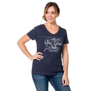 Große Größen: T-Shirt mit Frontprint, marine, Gr.40/42-56/58