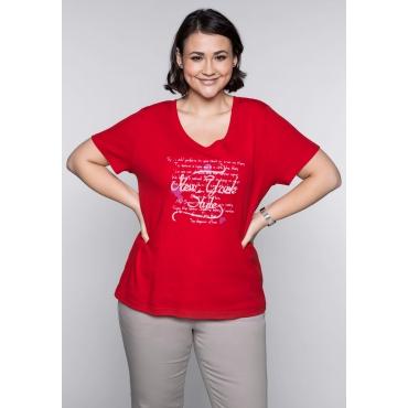 Große Größen: T-Shirt mit Frontprint, mohnrot, Gr.44/46-56/58