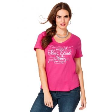 Große Größen: T-Shirt mit Frontprint, pink, Gr.40/42-56/58