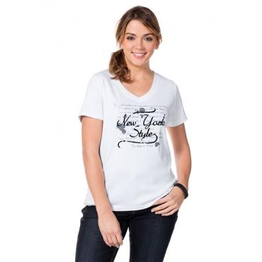 Große Größen: T-Shirt mit Frontprint, weiß, Gr.40/42-56/58