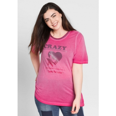 Große Größen: T-Shirt mit Glitzerdruck, dunkelpink, Gr.44/46-56/58