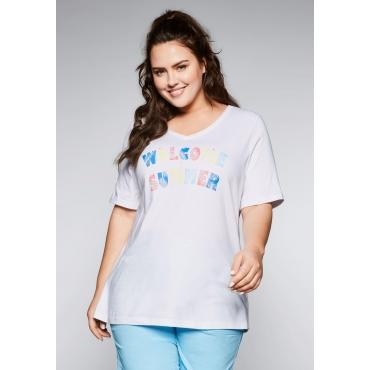 Große Größen: T-Shirt mit Glitzersteinen am Frontdruck, weiß, Gr.44/46-56/58