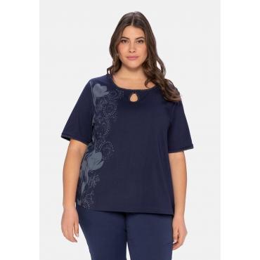 T-Shirt mit großem Blumendruck und Cut-out vorn, marine, Gr.40/42-56/58