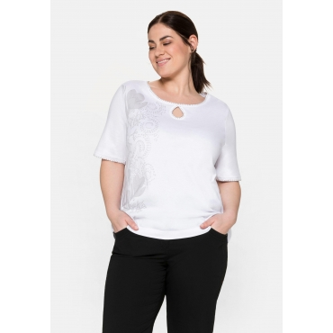 T-Shirt mit großem Blumendruck und Cut-out vorn, weiß, Gr.40/42-56/58