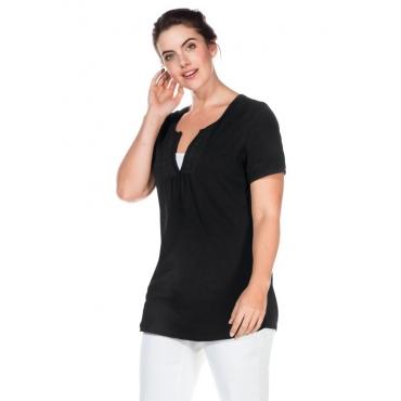Große Größen: T-Shirt mit Häkelspitzenbesatz, schwarz, Gr.40/42-56/58
