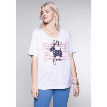 T-Shirt mit Hundemotiv vorn und V-Ausschnitt, weiß, Gr.44/46-56/58