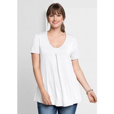 T-Shirt mit Kellerfalte, weiß, Gr.40/42-56/58