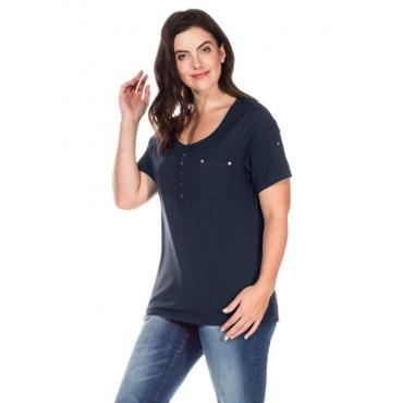 Große Größen: T-Shirt mit Knopfleiste, marine, Gr.40/42-56/58
