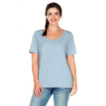 Große Größen: T-Shirt mit Knopfleiste, puderblau, Gr.40/42-56/58