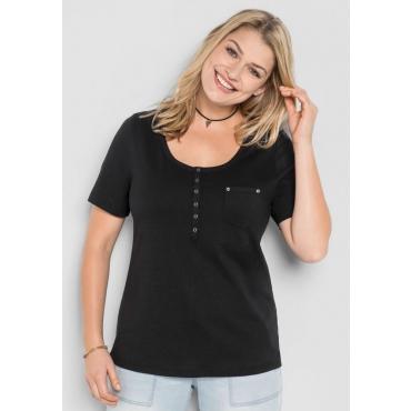 Große Größen: T-Shirt mit Knopfleiste, schwarz, Gr.40/42-56/58