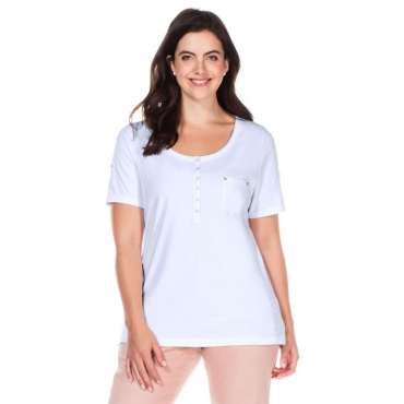 Große Größen: T-Shirt mit Knopfleiste, weiß, Gr.40/42-56/58