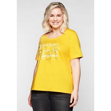 T-Shirt mit längerem Arm und Frontdruck, gelb, Gr.44/46-56/58