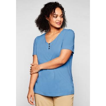 T-Shirt mit leichten Puffärmeln und kurzer Knopfleiste, jeansblau, Gr.44/46-56/58