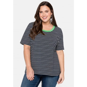 T-Shirt mit neonfarbenem Ausschnitt, marine-weiß, Gr.44/46-56/58