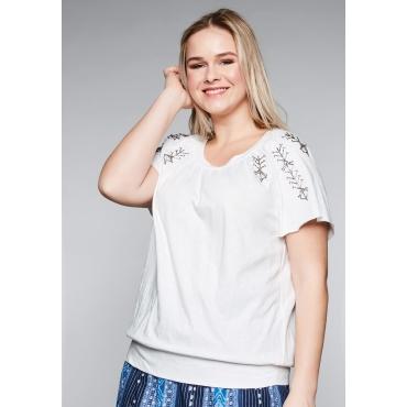 T-Shirt mit Perlenstickerei und Raglanärmel, offwhite, Gr.44/46-56/58