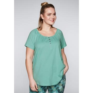 Große Größen: T-Shirt mit Raglanärmeln und Knopfleiste, jade, Gr.44/46-56/58