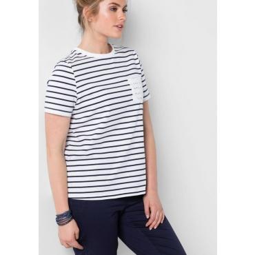 Große Größen: T-Shirt mit Ringelmuster, marine, Gr.40/42-56/58