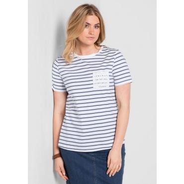Große Größen: T-Shirt mit Ringelmuster, rauchblau, Gr.40/42-56/58