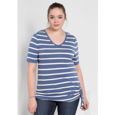 Große Größen: T-Shirt mit Ringeln, rauchblau gestreift, Gr.40/42-56/58