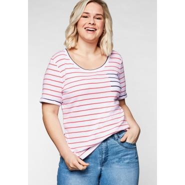 T-Shirt mit Ringeln und Brusttasche in Kontrastfarbe, koralle-weiß, Gr.44/46-56/58
