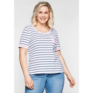 T-Shirt mit Ringeln und Brusttasche in Kontrastfarbe, marine-weiß, Gr.44/46-56/58