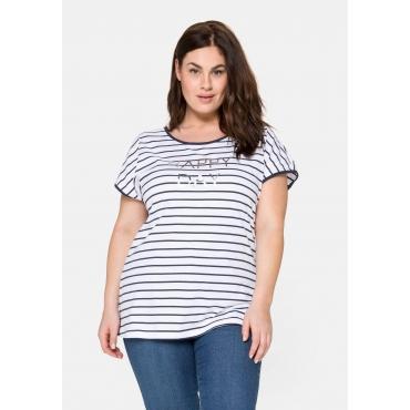 T-Shirt mit Ringeln und Statement-Foliendruck, weiß-marine, Gr.40/42-56/58