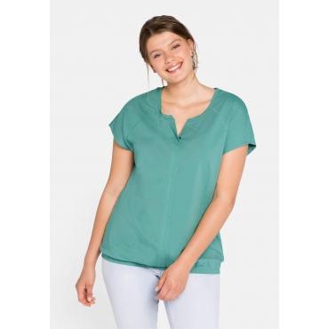 T-Shirt mit Schlitz, Blende und Gummizug, rauchgrün, Gr.44/46-56/58