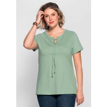 Große Größen: T-Shirt mit Schnürung, jade, Gr.40/42-56/58