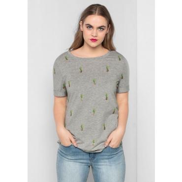 Große Größen: T-Shirt mit sommerlichem Alloverdruck, steingrau meliert, Gr.40/42-56/58