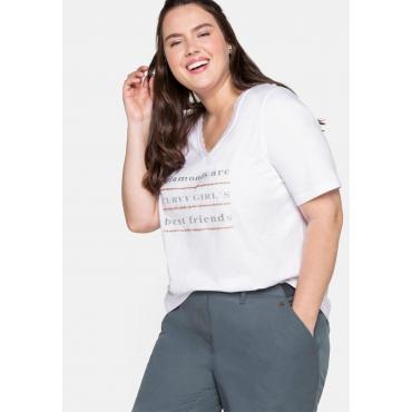 T-Shirt mit Spitze am Ausschnitt und Glitzerdruck, weiß, Gr.44/46-56/58