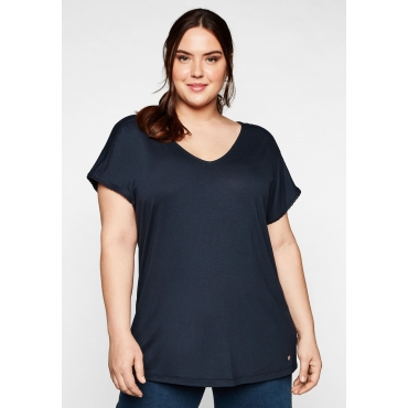 T-Shirt mit Spitze an Ärmeln und Schulternaht, nachtblau, Gr.44/46-56/58