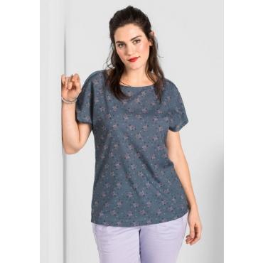 T-Shirt mit Spitze, blaugrau, Gr.40/42-56/58