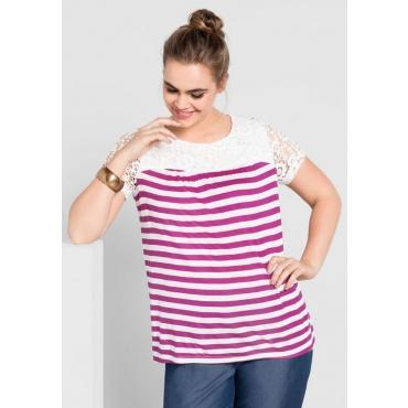 Große Größen: T-Shirt mit Spitze, dunkelfuchsia-weiß, Gr.40/42-56/58