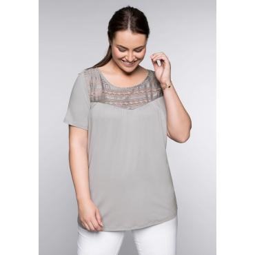 T-Shirt mit Spitze, hellgrau, Gr.44/46-56/58