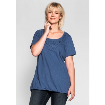 Große Größen: T-Shirt mit Spitze, rauchblau, Gr.40/42-56/58